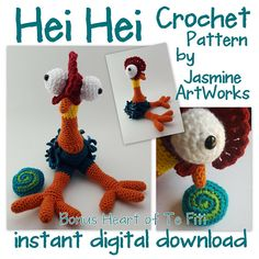 Make Hei Hei Chicken from Disneys Moana! My daughter laughed everytime Hei Hei Chicken was on the screen so I made her her own Chicken. She now sleeps with it! So, I decided to recreate and write down the instruction so others can crochet them too! For beginner to intermediate crocheters. This silly Character is a blast to make! Included is a bonus crochet pattern on how to make the Heart of Te Fiti from the movie as well! Hei Hei Stands about 15 tall. Neck is posable and feathers are fun…