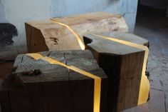 Wood lamp stools with fragments made of resin embedded with LEDs. By Marco Stefanelli.