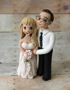 Couple Wedding Cake Toppers  Polymer Clay Cake by CherryRedToppers, $165.00
