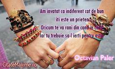"""Am invatat ca indiferent cat de bun iti este un prieten Oricum te va rani din cand in cand Iar tu trebuie sa-l ierti pentru asta""""""""  #CitatImagine de Octavian Paler  Iti place acest #citat? ♥Like♥ si ♥Share♥ cu prietenii tai.  #CitateImagini: #Iubire #Prietenie #Oameni #Motivationale #Celebre #AutorRoman #OctavianPaler #romania #quotes  Vezi mai multe #citate pe http://citatemaxime.ro/"""