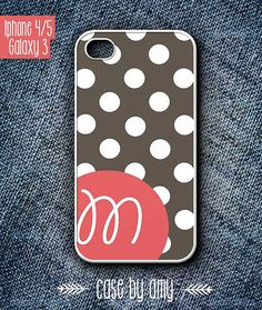 Monogrammed phone cover case for iPhone 4/4s, iPhone 5, Samsung Galaxy S3 - Brown polka dot pattern with initial - $16.80  at http://casebyamy.etsy.com