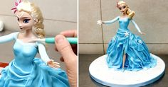How To Make A Frozen Elsa Doll Cake by CakesStepbyStep (This is cute, but WAAAAAYYYY too much fondant and a tiny bit of cake. I hope someone didn't expect to throw a huge party, because you would have to make a TON of Frozen cakes to keep children from throwing HUGE Tantrums! Also, I would pull off at least 4 of the 6 layers of that fondant before my child ate any of it!)