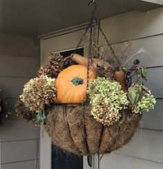 Replaced summer flowers in hanging basket with this fall display Fall Hanging Baskets, Decorative Hanging Baskets, Fall Displays, Autumn Display, Fall Flowers, Summer Flowers, Lake Landscaping, Diy Crafts Room Decor, Pumpkin Planter