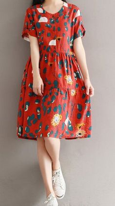 Women loose fitting retro rose flower plate buckle ethnic dress midi tunic chic #Unbranded #dress #Casual