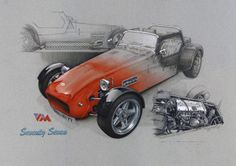 Lotus Seventy Seven, Pencil and Acrylic by Rob Roberts