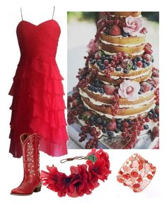 """red"" by ceciliazecchi on Polyvore featuring Oscar de la Renta, Rock 'N Rose, bestdressedguest and barnwedding"