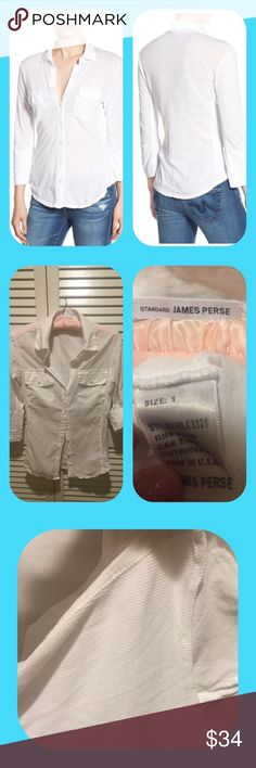 ⛲️ James Perse Sheer Slub Panel Shirt $155 Nordies  Classic pima cotton chic blouse, goes with everything. This was worn once and is in EUC. May be hand or machine washed. 80 % off retail price. No trades please. Thank you! James Perse Tops Button Down Shirts