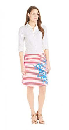 Playful and preppy JMcLaughlin skirt in packable Catalina cloth.