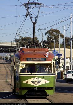 The first of many beautifully restored PCC cars makes an odd… Tramway, Pedestrian Bridge, Light Rail, Car Makes, Locomotive, Buses, Motorbikes, Signage, Trains