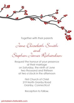 Winter Berry Invitation for red and silver winter weddings