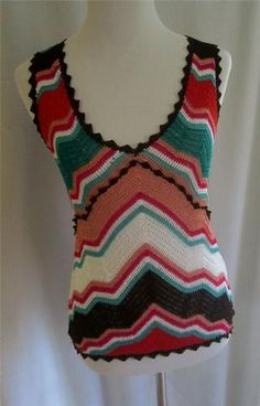 M Missoni Multi Color Zig Zag Open Knit Tank from The Strathmore Store on ebay.