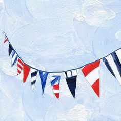 16X11 Nautical Bunting art print of Marine triangle bunting, limited edition