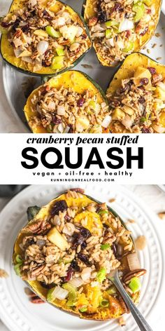 This vegan stuffed acorn squash works well as a Thanksgiving main dish but it can be enjoyed anytime for a healthy, filling plant-based meal. This recipe is gluten-free and oil-free. Vegetarian Recipes, Healthy Recipes, Free Recipes, Easy Recipes, Healthy Food, Vegan Main Dishes, Rind, Vegan Dinners, Whole Food Recipes