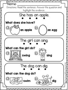 This comprehension pack is perfect for early readers, special education, ELLs in kindergarten and in first grade. 20 picture comprehension pages included. Picture Comprehension, Reading Comprehension Worksheets, Reading Fluency, Kindergarten Reading, Kindergarten Worksheets, Cvc Worksheets, Kindergarten Special Education, Comprehension Questions, Reading Skills