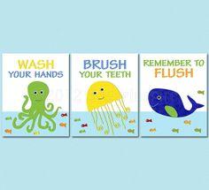 Kids Bathroom Art Print Set, 8x10, bathroom decor for boys, boys bathroom, octopus, jellyfish, whale, wash, brush, flush via Etsy