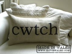 """cwtch cuddle burlap (hessian) pillow cushion cover - Etsy Front Page item awww. this is the Welsh word for """"cuddle"""". From on etsyawww. this is the Welsh word for """"cuddle"""". From on etsy Burlap Pillows, Bed Pillows, Cuddle Pillow, Welsh Words, Welsh Phrases, Small Safe, Welsh Gifts, Cymru, Hessian"""