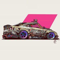 GTR by Fernando Correa : ImaginaryVehicles Cool Car Drawings, Jdm Wallpaper, Street Racing Cars, Car Illustration, Tuner Cars, Automotive Art, Automotive Engineering, Automotive Industry, Cyberpunk Art