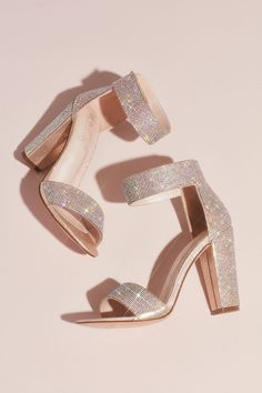 Crystal Block-Heel Sandals with Velcro Ankle Strap - Add sparkle and comfort to your wedding day Fancy Shoes, Formal Shoes, Me Too Shoes, Sparkle Shoes, Ankle Strap Heels, Ankle Straps, Prom Heels, Sparkly Heels, Rose Gold Heels