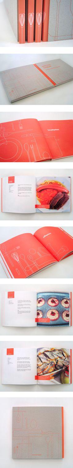 Un recetario minimalista con una paleta de color basica del cual se rescata la diagramación y la ilustración.