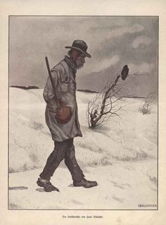 1903  Vintage Jugend Style Art Print A Tramp Wanderer By Hans Baluschek