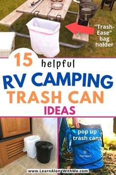 If you go RV camping check out these 15 proven RV trash can ideas so you can leave no trace when you're camping. There is a collapsible trash can, some that are ideal for RV bathrooms, and other options for your RV kitchen. Not all of these RV trash can ideas will work in your RV (they may not fit), but maybe one of them will be right for you. Check it out today. #rvtrashcanideas Travel Trailer Living, Travel Trailer Remodel, Travel Trailer Organization, Rv Organization, Rv Storage Solutions, Storage Ideas, Popup Camper Remodel, Diy Camping, Camping Hacks