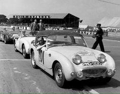 ohn Sprinzel at The British Grand Prix Silverstone after the 1958 Alpine Rally ! Vintage Cars, Antique Cars, Monte Carlo Rally, Frog Eye, Austin Healey Sprite, Mg Midget, Gilles Villeneuve, British Grand Prix, British Sports Cars