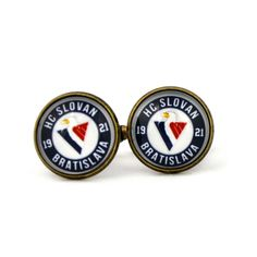 HC Slovan Bratislava Logo cufflinks. Ice hockey club. KHL. Personalised Silver.Men's jewelry accessories gift. by Mysstic on Etsy