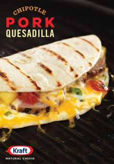 Fold up a fiesta of bold latin flavors with smoky chipotle seasoned pork, juicy pineapple salsa & KRAFT Shredded Triple Cheddar with a Touch of Philadelphia Cream Cheese. Kraft Recipes, Pork Recipes, Cooking Recipes, Healthy Recipes, Mexican Dishes, Mexican Food Recipes, Tacos And Burritos, Good Food, Yummy Food
