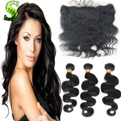 233.96$  Buy here  - 13x4 Lace Frontal With 3 Bundles Brazilian Body Wave With Closure Lace Frontal Brazilian Virgin Hair Weave Bundles With Closure