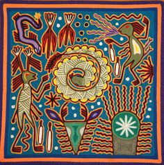 Huichol Yarn Painting Mexican Folk Art 12 x 12 (high quality, signed by artist)