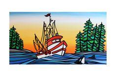 original art matted PRINT 'Sasha' West Coast by mishasmartARTWORKS, $25.00 Art Mat, Coastal Art, West Coast, Boats, Original Art, Collage, Art Prints, The Originals, Canvas