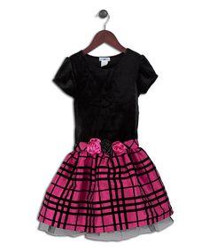 Look at this #zulilyfind! Black & Fuchsia Plaid Drop-Waist Dress - Infant, Toddler & Girls #zulilyfinds