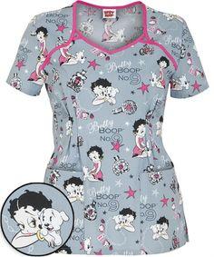 Cute Scrubs Uniform, Cute Nursing Scrubs, Scrubs Outfit, Nursing Clothes, Betty Boop, Disney Scrubs, Stylish Scrubs, Medical Scrubs, Scrub Tops