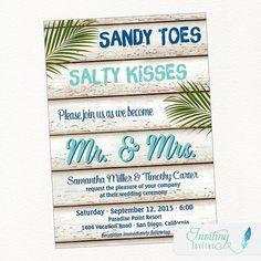 Beach Wedding Invitation, Tropical Wedding Invitation, Palm Tree Wedding Invitation, Destination Wed