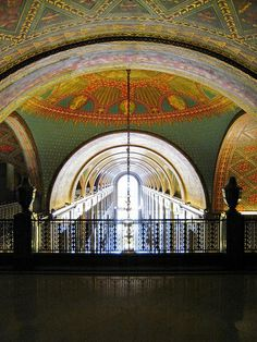 The shopping arcade of the Fisher Building in Detroit.