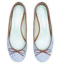 Sambag pony ballet flats in light blue with white polka dots - so pretty.