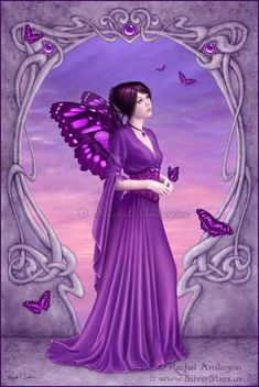 Official Gallery of fantasy artist Rachel Anderson. fairies, angels, mermaids, fantasy art with an occasional gothic twist, and more! Illustration Fantasy, Kobold, Fairy Pictures, Earth Design, Love Fairy, Purple Love, Purple Things, Purple Stuff, Beautiful Fairies