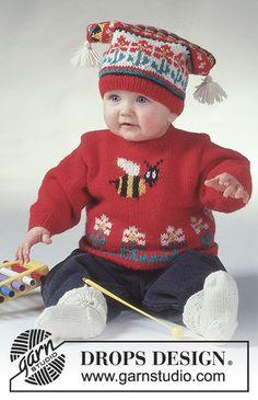 To Bee / DROPS Baby 2-1 - Sett i Karisma med Humla: DROPS tröja, mössa med garnbollar och sockor.