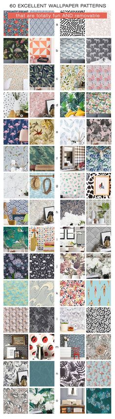 From The Made Home. 60 fun patterns of REMOVABLE wallpaper! Resources like Etsy, Wall Flora, Brewster, Walls Need Love, Hygge & West, Chasing Paper, Think Noir. Flamingos, Palms, Geometric, Modern, Florals, Feathers, Marble, Waves, Lines.