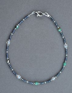 SOLD - Hematite Green and Clear Crystal Anklet by JewelryArtByGail