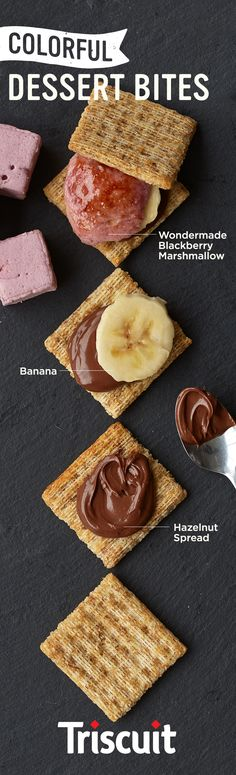 nanahazeberryscuit (hazelnut spread+banana+blackberry marshmallow)   Hazelnut spread, a little banana and a toasted Wondermade Blackberry Mashmallow on a Triscuit. It's familiar, but oh so much more, and it could only come from Wondermade.