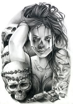 Chicano Art-Tattoo – Welcome Art Chicano, Chicano Art Tattoos, Chicano Drawings, Cholo Art, Skull Tattoos, Tattoo Drawings, Body Art Tattoos, Sleeve Tattoos, Chicanas Tattoo