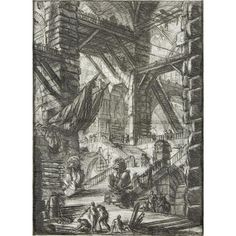 "GIOVANNI BATTISTA PIRANESI <br /> <span style=""font-variant: small-caps;"">(italian, 1720-1778)</span> <br /> ""THE STAIRCASE WITH TROPHIES"" <br /> <span style=""font-variant: small-caps;"">plate viii from ""carceri d''invenzione""</span> <br /> Circa 1749, printed circa 1770s, the fifth state of seven, with full margins. Etching and engraving on laid paper. <br..."