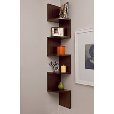 Room Decor Discover Danya B. Large Decorative Corner Floating Wall Mount Display Shelving Unit Laminated Veneer Corner Wall Mount Shelf - Overstock Shopping - Great Deals on Media/Bookshelves Large Corner Shelf, Corner Wall Shelves, Wall Mounted Shelves, Display Shelves, Glass Shelves, Book Shelves, Wall Shelving, Bookshelf Wall, Corner Storage