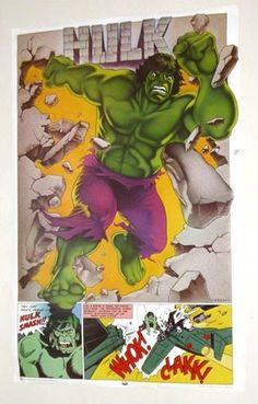 Rare vintage original 1977 Marvel Comics 35 x 23 Thought Factory Incredible Hulk comic book superheroes poster: 1970's Marvelmania/Avengers superhero!