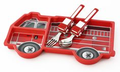 """Oh, the lengths we'll go to get our little people to eat!  Adorable mealsets are all the rage these days for little tikes, and this firetruck car meal set sure doesn't disappoin your little fireman/gal!  Made of extremely durable 100% melamine, these plates are fun for children and effective for parents. The plates have sectioning to please the picky people (""""mama, I don't like when my food touches!""""), and the firetruck silverware gives you a better chance that the food wi"""
