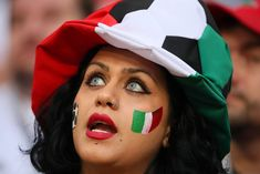 A female fan of Iran looks on prior to the 2018 FIFA World Cup Russia group B match between Iran and Portugal at Mordovia Arena on June 2018 in Saransk, Russia. Erstklassige Nachrichtenbilder in hoher Auflösung bei Getty Images Persian Football, Ukraine Girls, Soccer Fans, Fifa World Cup, Sport Girl, Nice Body, Woman Face, Hollywood Actresses, Football Players