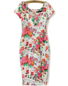 V Neck Short Sleeve Floral Bodycon Dress