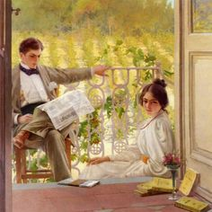 An Afternoon on the Porch by Vittorio Matteo Corcos, 1895