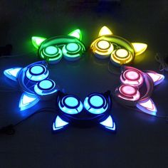 JINSERTA Foldable Flashing Glowing cat ear headphones Gaming Headset Earphone with LED light For PC Laptop Computer Mobile Phone Light Up Headphones, Cat Headphones, Noise Cancelling Headphones, Wireless Headphones, Bluetooth, Gaming Headset, Cat Ear Headset, Led Licht, Laptop Computers